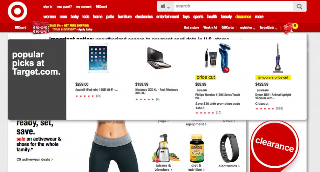 Target homepage after 2 seconds; the warning is covered over